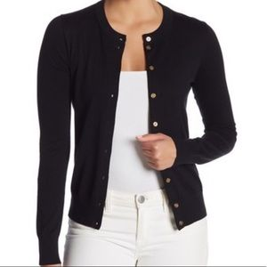 J. Crew The Caryn Cardigan in black, gold buttons
